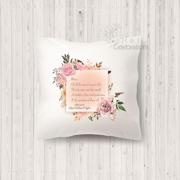 A Mothers Love Floral Poem Cushion